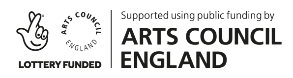 Logo from Arts Council England showing support using public funding by the National Lottery